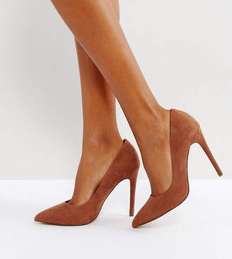 Asos DESIGN Wide Fit Paris pointed high heeled court shoes in mocha