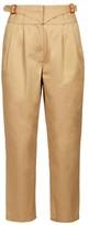 Loewe Buckled High-rise Herringbone Trousers - Womens - Beige