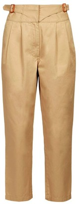 Loewe Buckled High-rise Herringbone Trousers - Womens - Beige