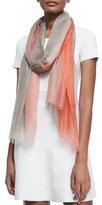 Bergdorf Goodman Featherweight Cashmere Dip-Dye Shawl, Orange