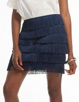 Trina Turk Haute Havana Zazzy Fringed Mikado Tiered Fringe Skirt