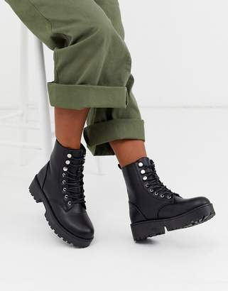 Qupid lace up military boot in black