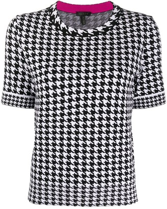 Escada Houndstooth Print Knit Top