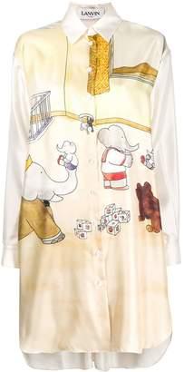 Lanvin Babar-print silk shirt-dress