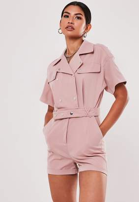 Missguided Rose Utility Short Sleeve Popper Playsuit