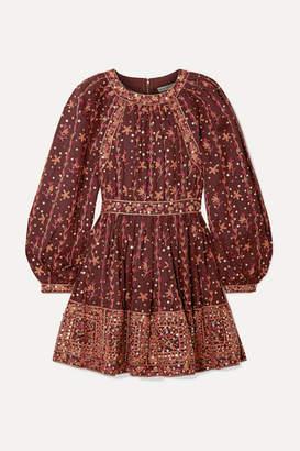 Ulla Johnson Daya Embellished Embroidered Linen And Cotton-blend Mini Dress - Burgundy