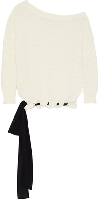 Charli Thistle One-shoulder Tie-detailed Ribbed Cotton-blend Sweater