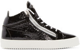 Giuseppe Zanotti Black Patent London Mid-top Sneakers