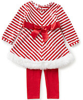 Bonnie Jean Bonnie Baby Girls Newborn-24 Months Christmas Mitered-Stripe Faux-Fur Dress & Solid Leggings Set