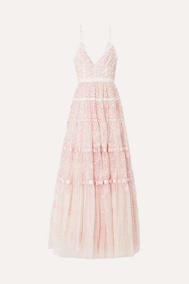 Needle & Thread Satin-trimmed Embroidered Tulle Gown - Pastel pink