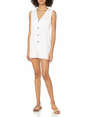 Seafolly Women's Textured Cotton Swimsuit Cover Up Romper with Button Front