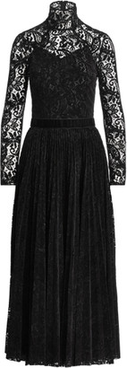 Ralph Lauren Christa Flocked Paisley Lace Dress