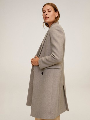 MANGO Wool Double Breasted Formal Coat - Brown