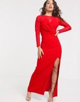 TFNC dobby mesh long sleeve maxi dress