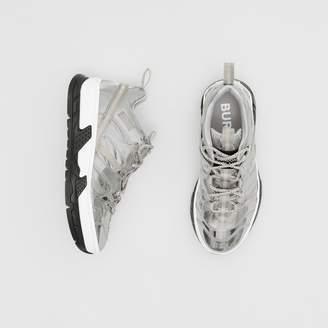Burberry Metallic Leather and Nylon Union Sneakers