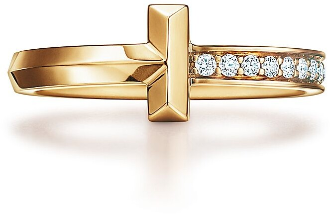 Tiffany & Co. T T1 Ring in Yellow Gold with Diamonds, 2.5 mm Wide