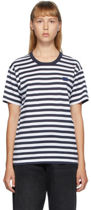 Acne Studios Navy and White Classic Fit Striped T-Shirt