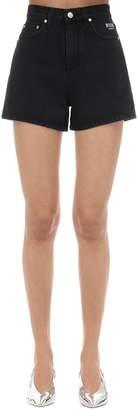 MSGM Cat Printed Cotton Denim Shorts