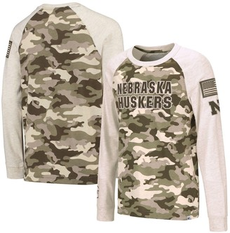 Colosseum Youth Oatmeal Nebraska Cornhuskers OHT Military Appreciation Desert Camo Raglan Long Sleeve T-Shirt
