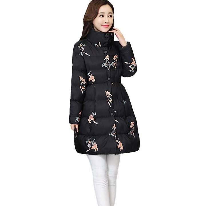 996eb3b3a PENATE Women's Down Jackets PENATE Women's Slim Down Jacket Girl Floral  Winter Warm Cotton Padded Coat Parka