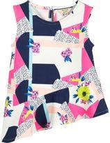 River Island Mini girls pink print asymmetric top