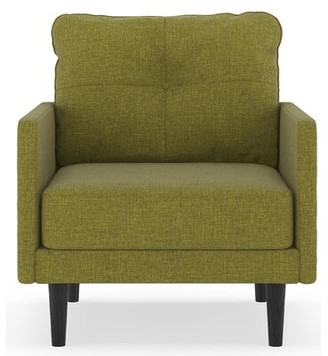 Corrigan Studio Cowan Armchair Upholstery Color: Aubergine, Leg Color: Black