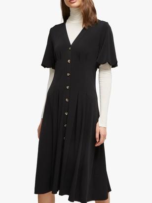 French Connection Serafina Button Through Dress, Black