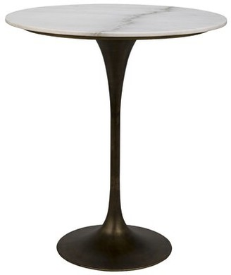 Noir Laredo Dining Table Base Color / Top Color: Aged Brass/White Marble