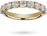 Brilliant cut 1.37 total carat weight diamond half eternity ring in 18 carat yellow gold
