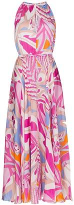 Emilio Pucci Printed Draped Maxi Dress
