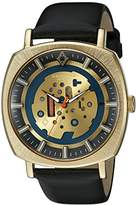 Akribos XXIV Men's AK826YGB Quartz Movement Watch with Yellow Gold and Blue Dial and Black Leather Strap