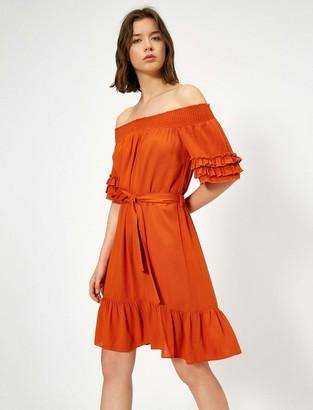 Koton Women's Schulterfreies Volant Kleid Casual Dress