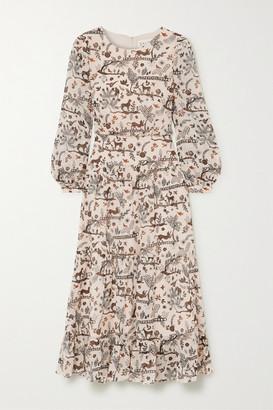 Saloni Isabel Printed Silk-georgette Midi Dress - Ivory