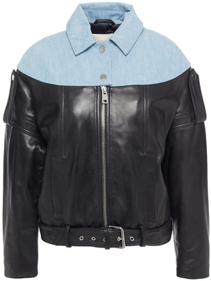 Maje Bloom Paneled Leather And Denim Biker Jacket