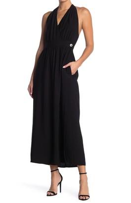 Lush Halter Neck Wrap Maxi Dress