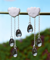 Lotus Fun Women's Earrings Grey - Gray Crystal & Sterling Silver Cloud Drop Earrings