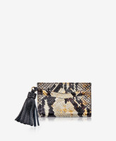 GiGi New York Slim Card Case with Tassel, Gold Wash Embossed Python