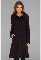 Ivanka Trump Ruched Collar Boucle Coat (Violet) - Apparel
