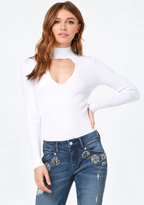 Bebe Mock Neck Sweater Bodysuit