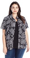 Notations Women's Plus Size Short Sleeve Printed Blouse with Solid Inset
