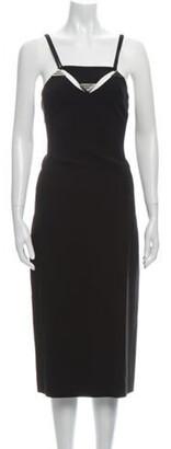 Thierry Mugler Square Neckline Midi Length Dress Black