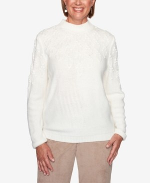 Alfred Dunner Women's Missy Dover Cliffs Pointelle Stitch Yoke Solid Sweater
