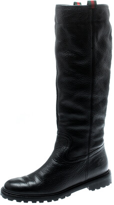Gucci Black Leather Riding Web Detail Knee Boots Size 38