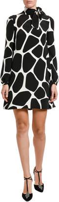 Valentino Giraffe-Print Cady Long-Sleeve A-line Dress