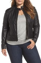 Plus Size Women's Slink Jeans Leather Moto Jacket