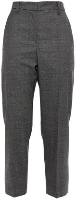 Brunello Cucinelli Cropped Bead-embellished Houndstooth Wool Tapered Pants
