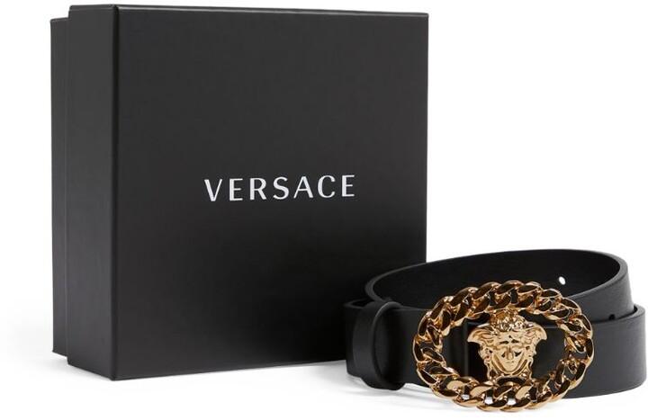 Versace Kids Leather Medusa Buckle Belt
