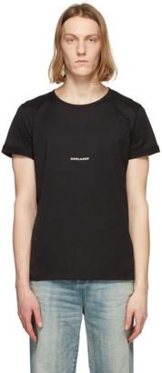 Saint Laurent Black Rive Gauche Logo T-Shirt