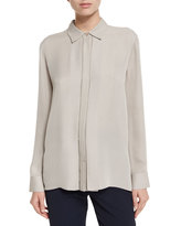 Vince Woven Silk Button-Down Top, Taupe