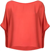 Peter Cohen - short sleeve draped top - women - Polyester - XL